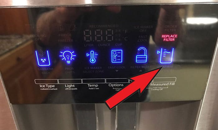 how to reset the water filter light on a whirlpool refrigerator